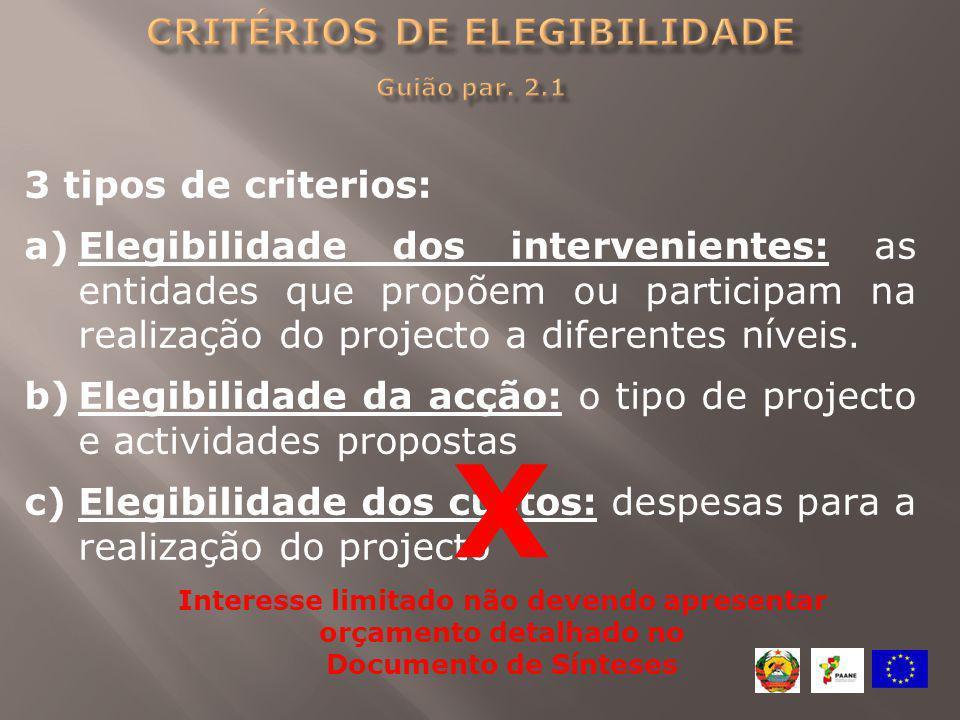 critérios de Elegibilidade Guião par. 2.1
