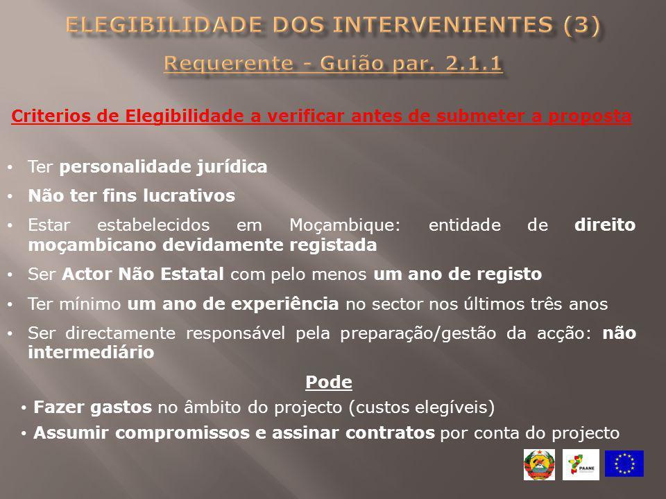Elegibilidade dos intervenientes (3) Requerente - Guião par. 2.1.1