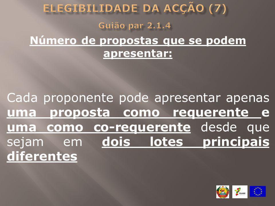 Elegibilidade da acção (7) Guião par 2.1.4