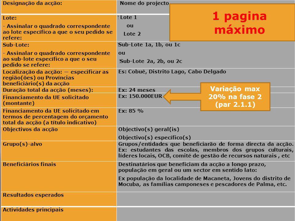 1 pagina máximo Variação max 20% na fase 2 (par 2.1.1)