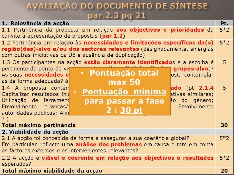 Avaliação do Documento de Síntese par.2.3 pg 21