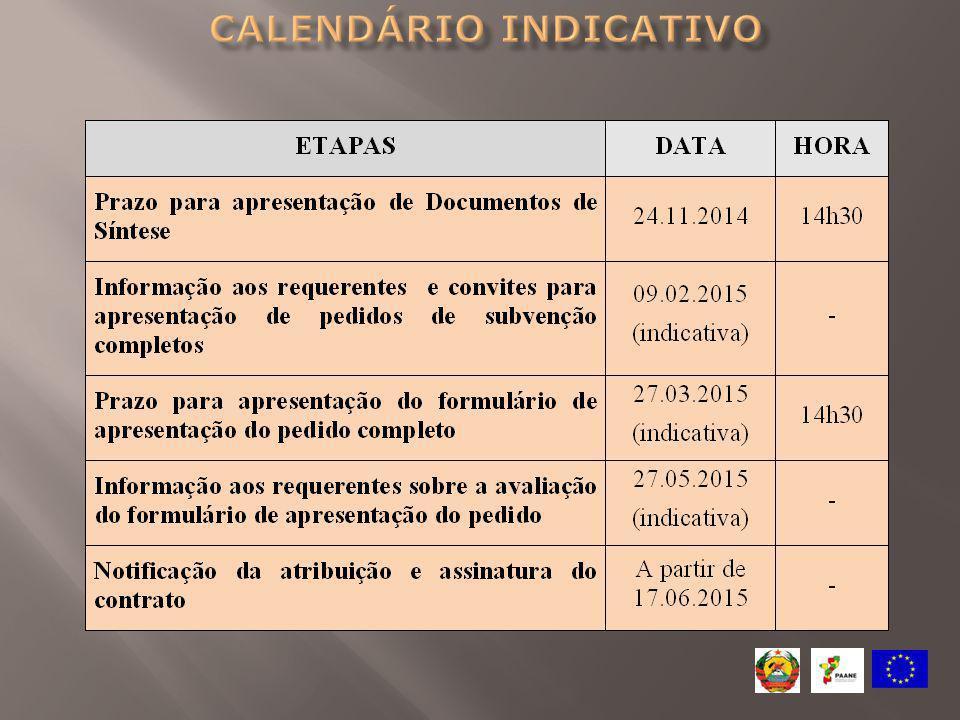 Calendário indicativo