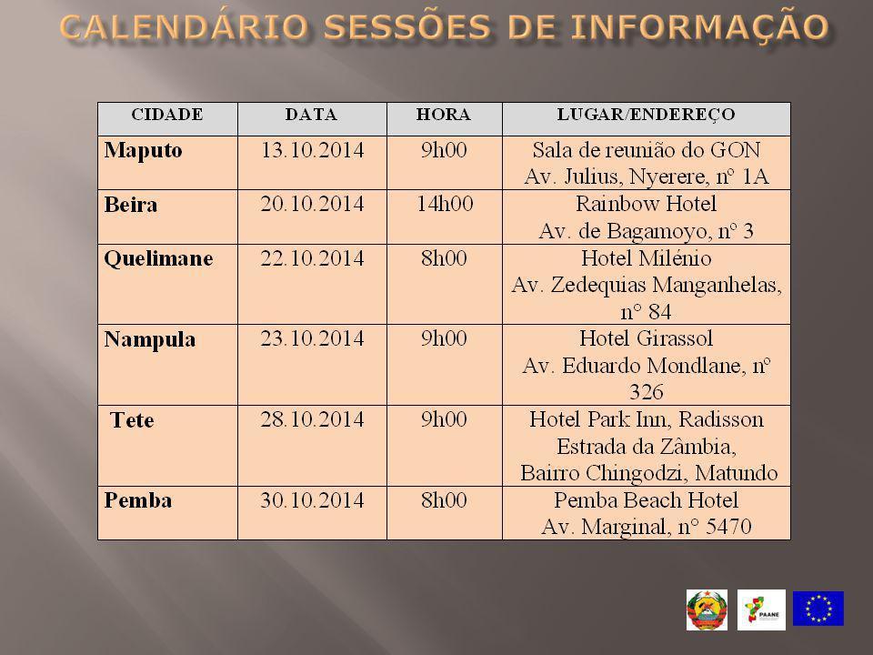 Calendário Sessões de informação