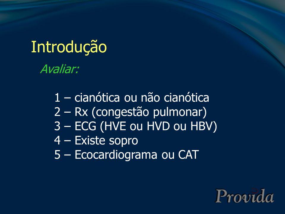 Introdução Avaliar: 1 – cianótica ou não cianótica
