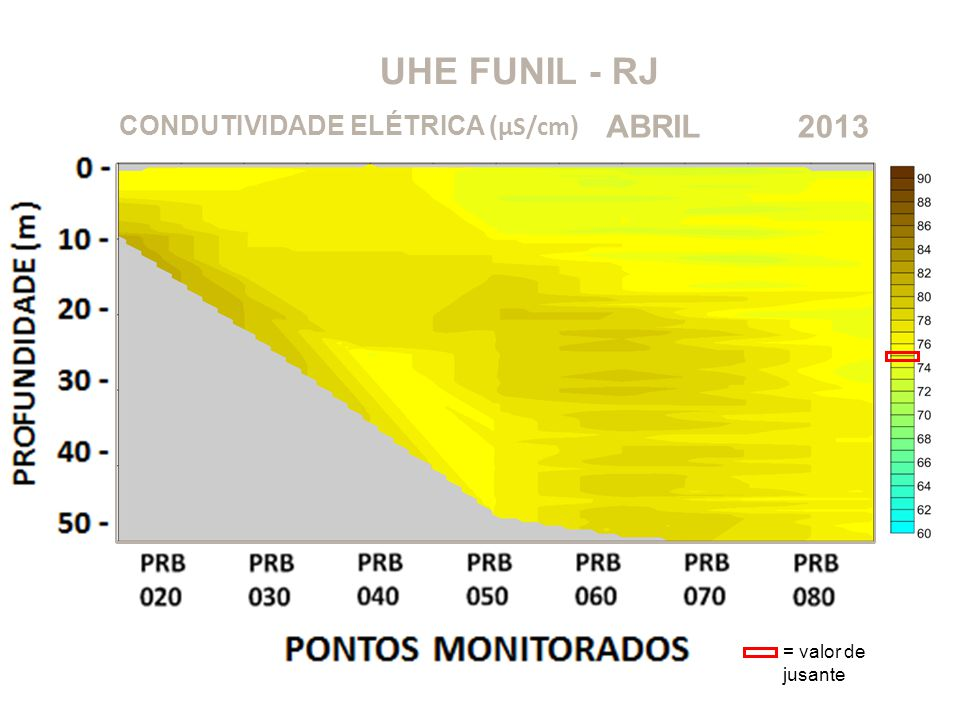 UHE FUNIL - RJ ABRIL 2013 CONDUTIVIDADE ELÉTRICA (μS/cm)