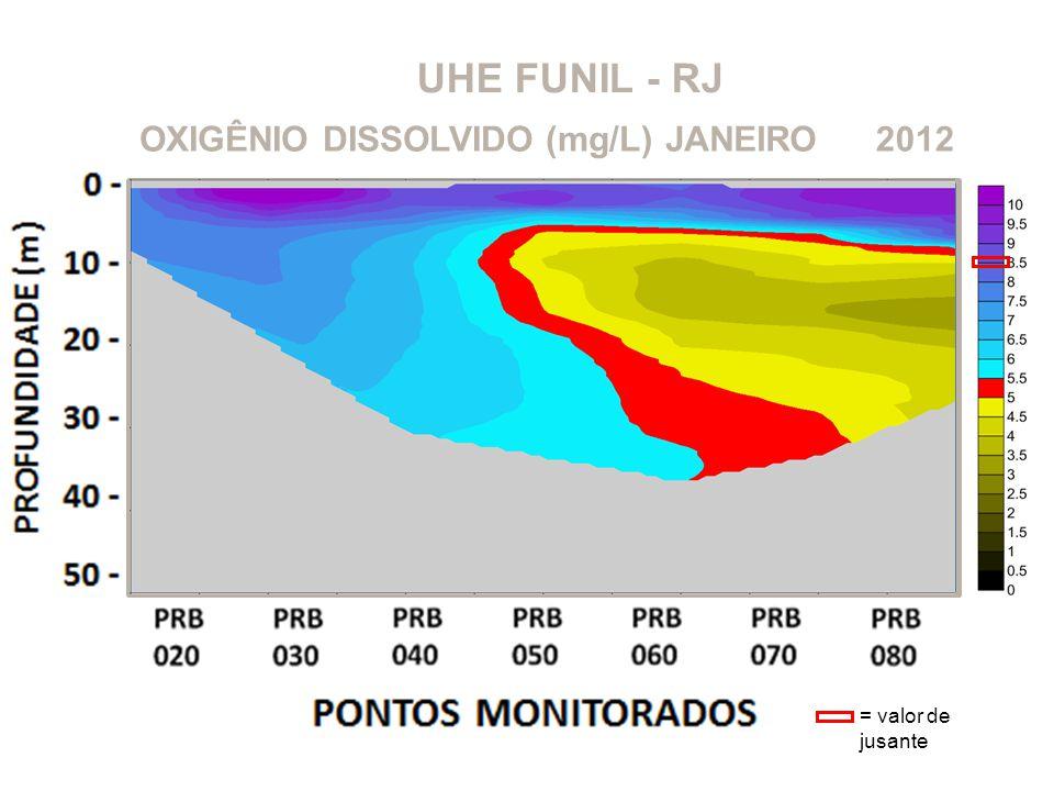 UHE FUNIL - RJ OXIGÊNIO DISSOLVIDO (mg/L) JANEIRO 2012