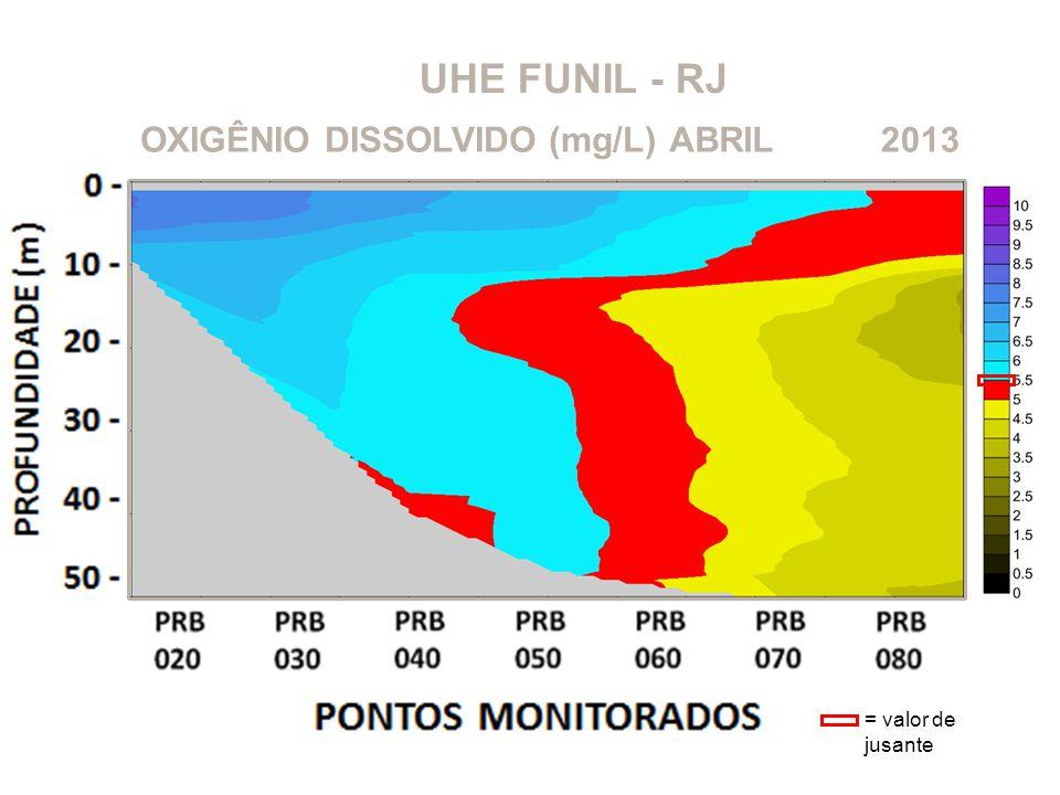 UHE FUNIL - RJ OXIGÊNIO DISSOLVIDO (mg/L) ABRIL 2013