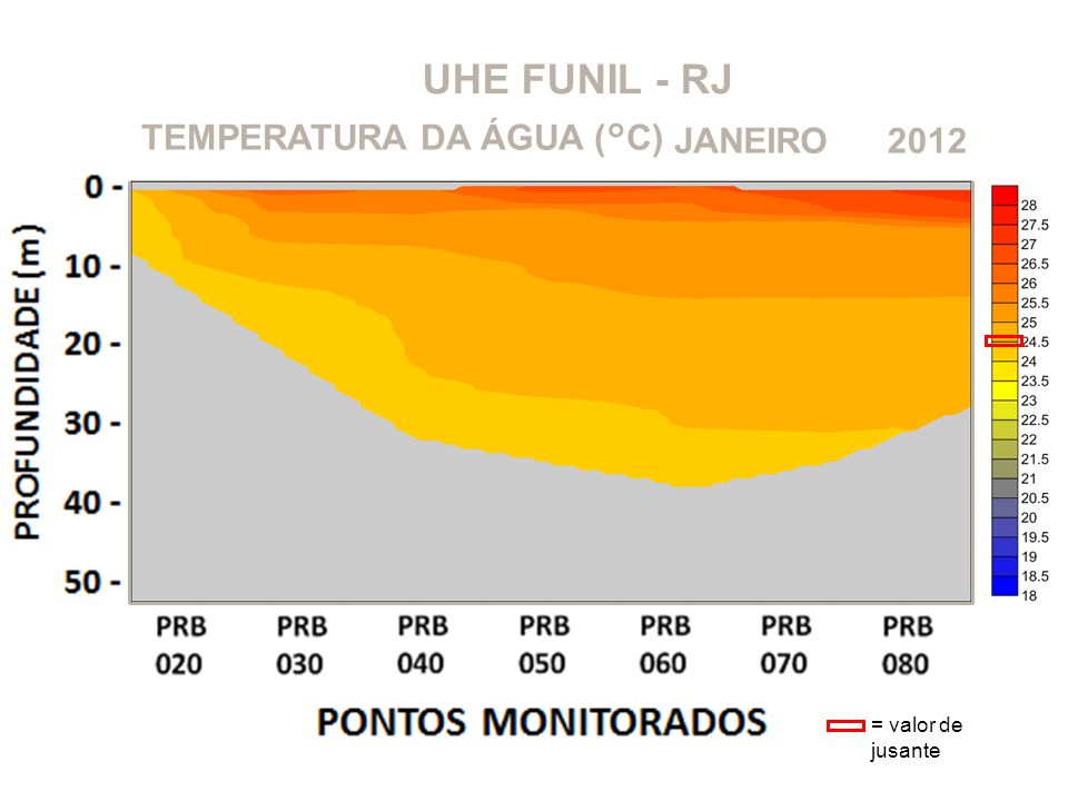 UHE FUNIL - RJ TEMPERATURA DA ÁGUA (°C) JANEIRO 2012