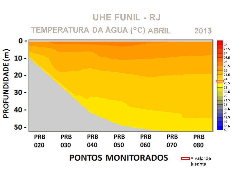 UHE FUNIL - RJ TEMPERATURA DA ÁGUA (°C) ABRIL 2013 = valor de jusante