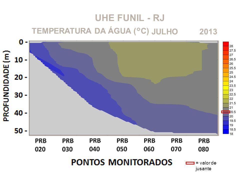 UHE FUNIL - RJ TEMPERATURA DA ÁGUA (°C) JULHO 2013 = valor de jusante
