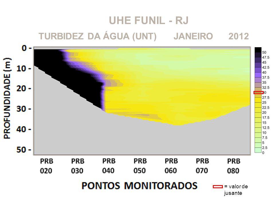 UHE FUNIL - RJ TURBIDEZ DA ÁGUA (UNT) JANEIRO 2012 = valor de jusante