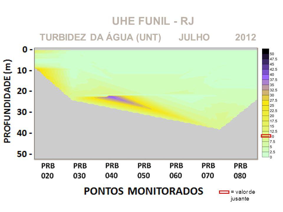 UHE FUNIL - RJ TURBIDEZ DA ÁGUA (UNT) JULHO 2012 = valor de jusante
