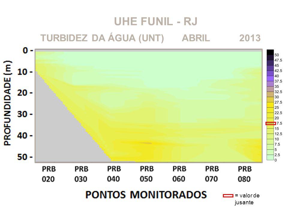 UHE FUNIL - RJ TURBIDEZ DA ÁGUA (UNT) ABRIL 2013 = valor de jusante