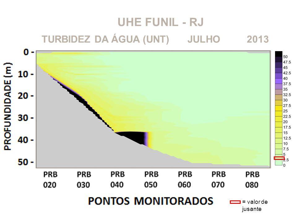 UHE FUNIL - RJ TURBIDEZ DA ÁGUA (UNT) JULHO 2013 = valor de jusante