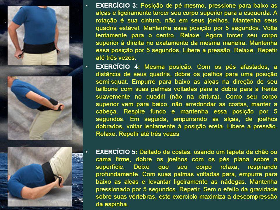 EXERCÍCIO 3: Posição de pé mesmo, pressione para baixo as alças e ligeiramente torcer seu corpo superior para a esquerda. A rotação é sua cintura, não em seus joelhos. Mantenha seus quadris estável. Mantenha essa posição por 5 segundos. Volte lentamente para o centro. Relaxe. Agora torcer seu corpo superior à direita no exatamente da mesma maneira. Mantenha essa posição por 5 segundos. Libere a pressão. Relaxe. Repetir até três vezes.