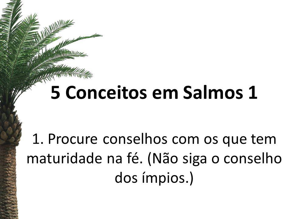5 Conceitos em Salmos 1 1. Procure conselhos com os que tem maturidade na fé.