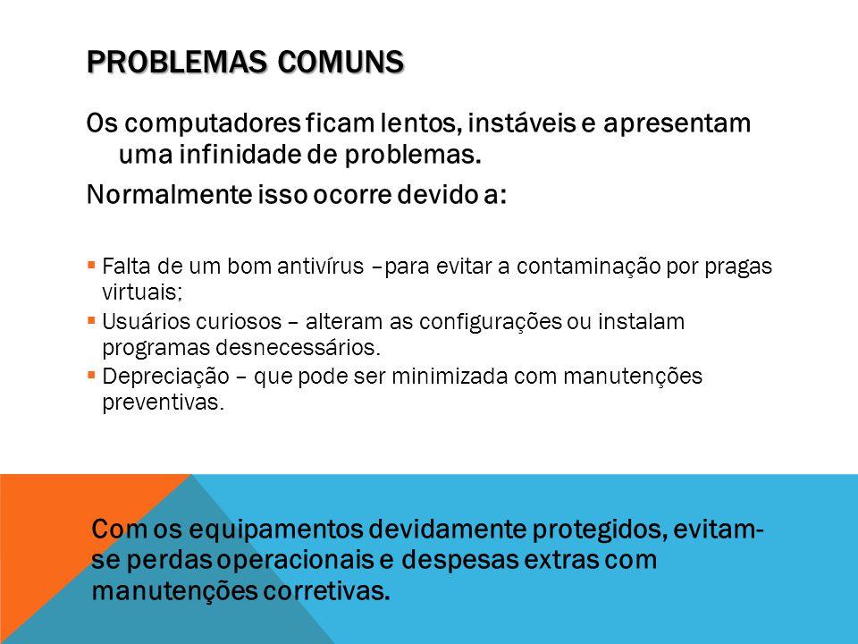 Problemas Comuns Os computadores ficam lentos, instáveis e apresentam uma infinidade de problemas.
