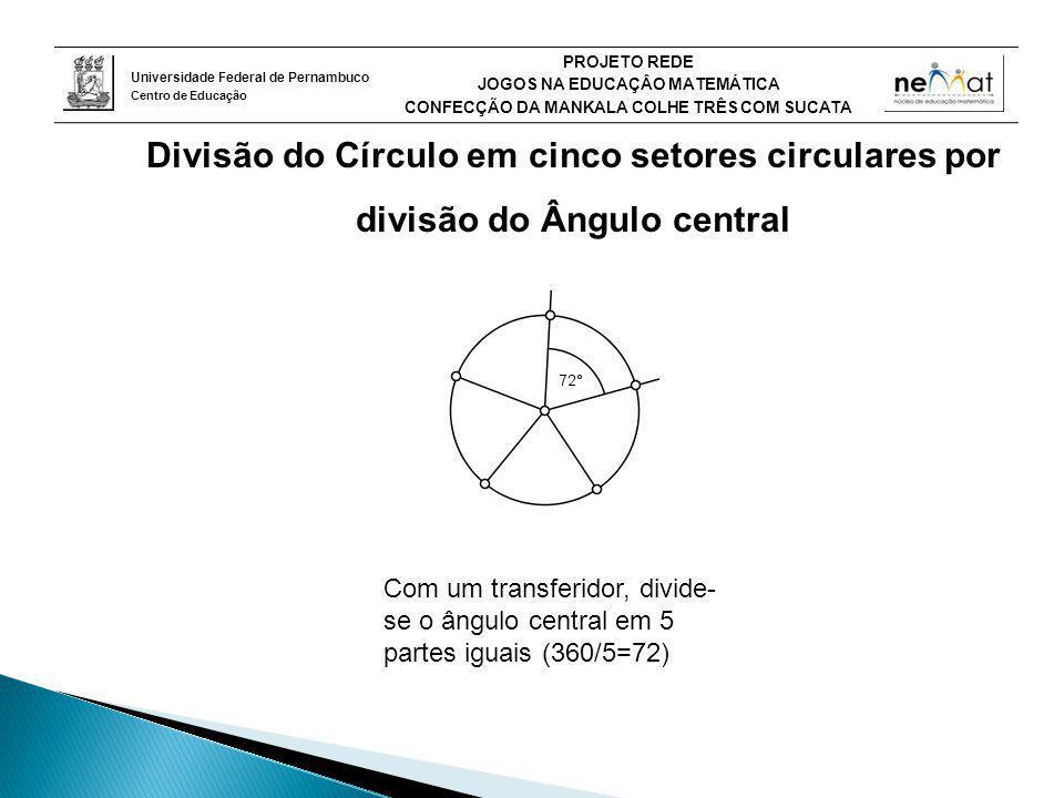 Divisão do Círculo em cinco setores circulares por divisão do Ângulo central