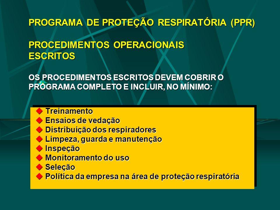 PROGRAMA DE PROTEÇÃO RESPIRATÓRIA (PPR) PROCEDIMENTOS OPERACIONAIS ESCRITOS OS PROCEDIMENTOS ESCRITOS DEVEM COBRIR O PROGRAMA COMPLETO E INCLUIR, NO MÍNIMO: