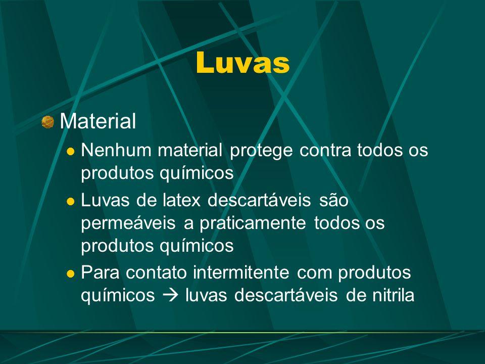 Luvas Material. Nenhum material protege contra todos os produtos químicos.