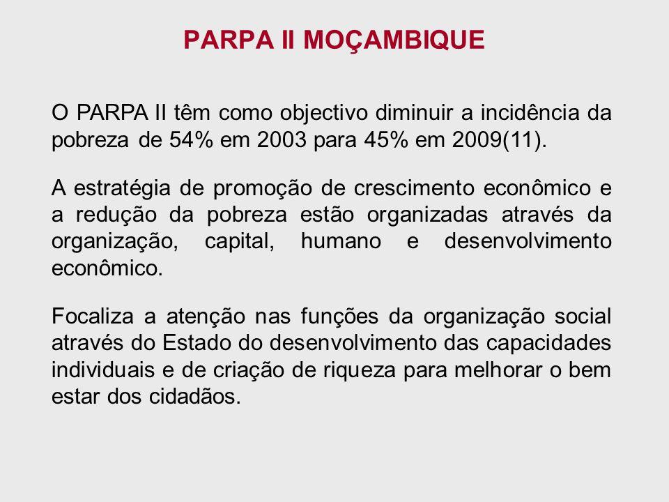 PARPA II MOÇAMBIQUE O PARPA II têm como objectivo diminuir a incidência da pobreza de 54% em 2003 para 45% em 2009(11).