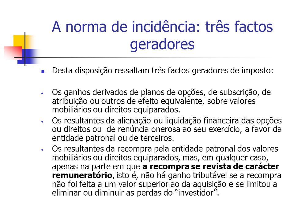 A norma de incidência: três factos geradores