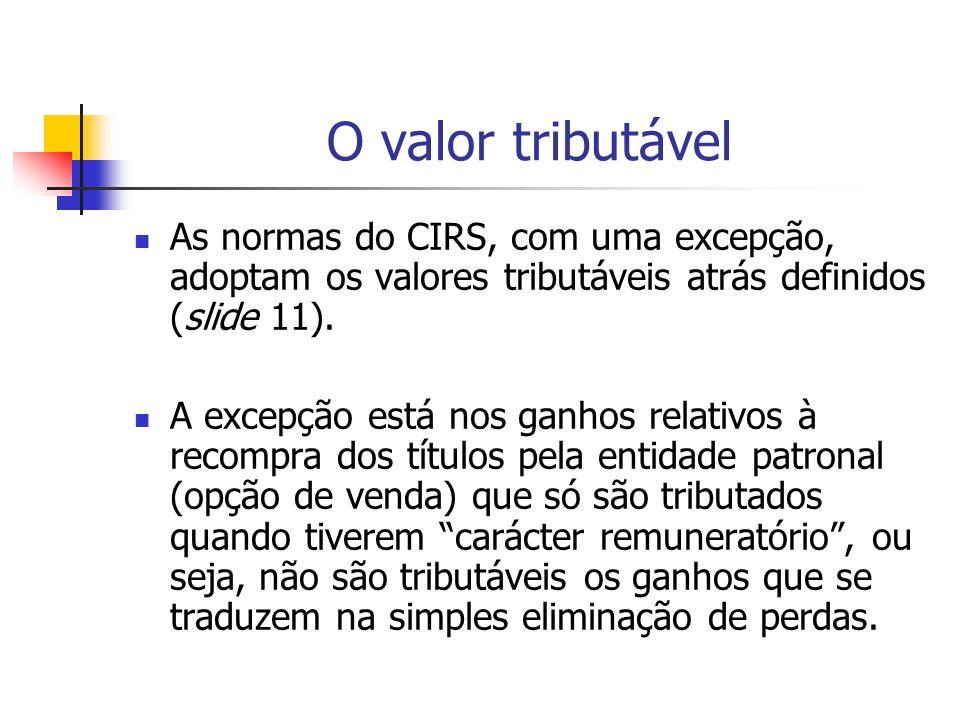 O valor tributável As normas do CIRS, com uma excepção, adoptam os valores tributáveis atrás definidos (slide 11).