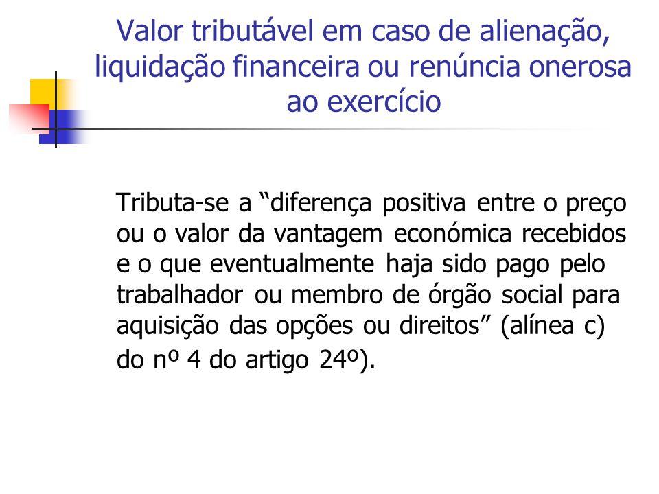Valor tributável em caso de alienação, liquidação financeira ou renúncia onerosa ao exercício