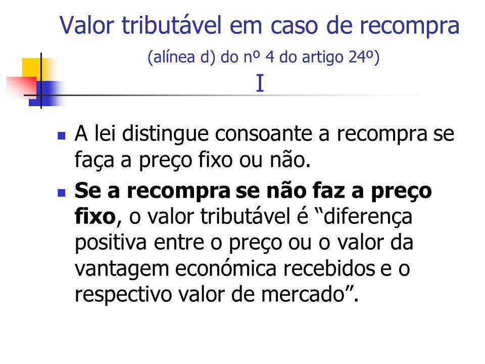 Valor tributável em caso de recompra (alínea d) do nº 4 do artigo 24º) I