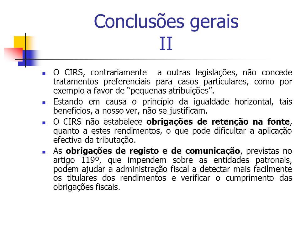 Conclusões gerais II