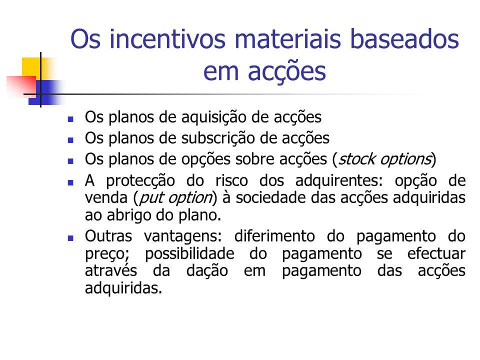 Os incentivos materiais baseados em acções