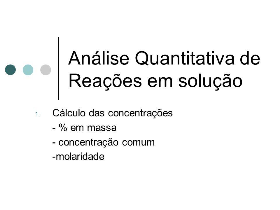 Análise Quantitativa de Reações em solução