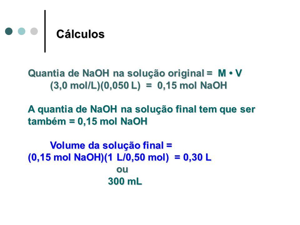 Cálculos Quantia de NaOH na solução original = M • V
