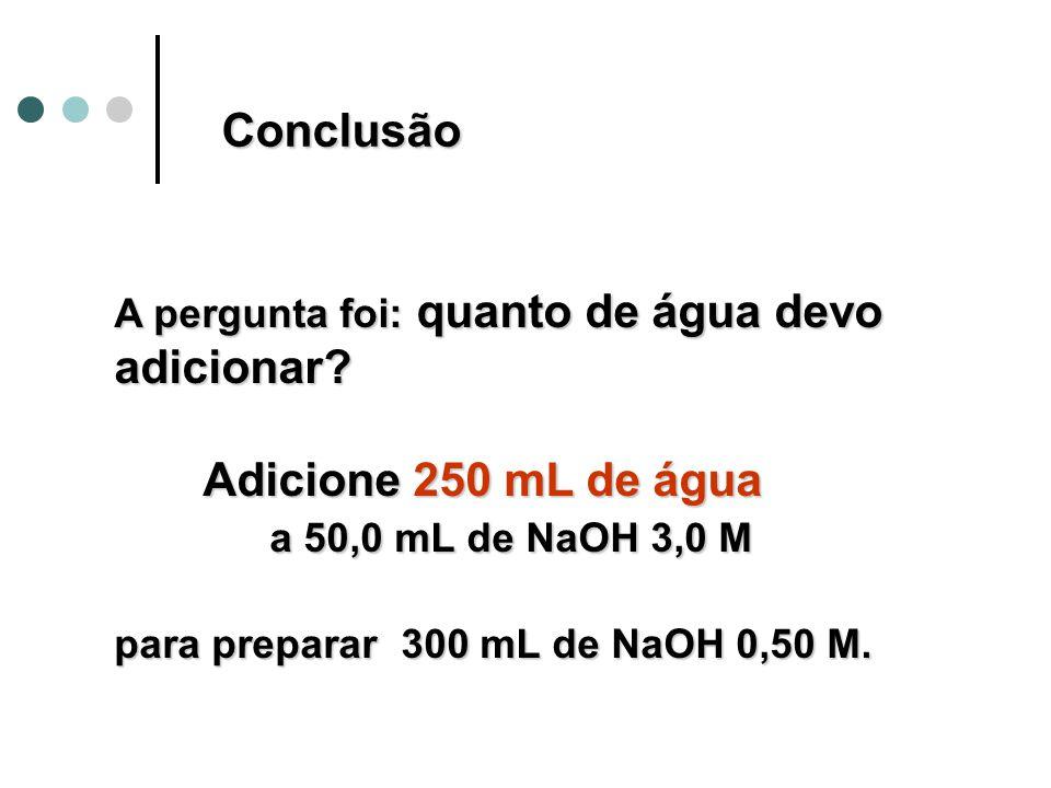 Conclusão Adicione 250 mL de água a 50,0 mL de NaOH 3,0 M