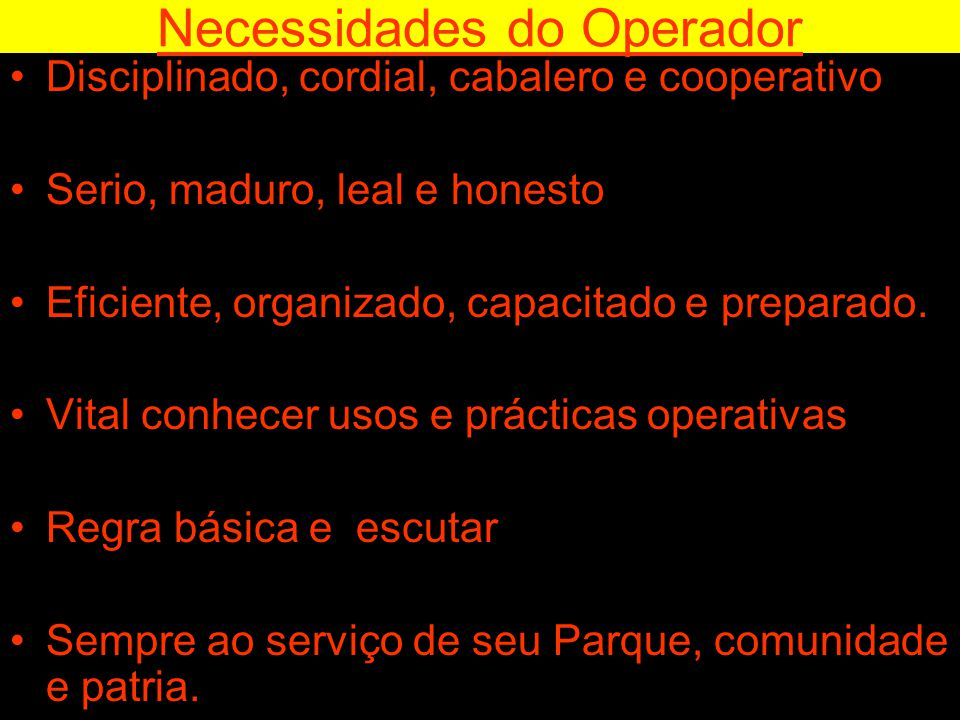 Necessidades do Operador