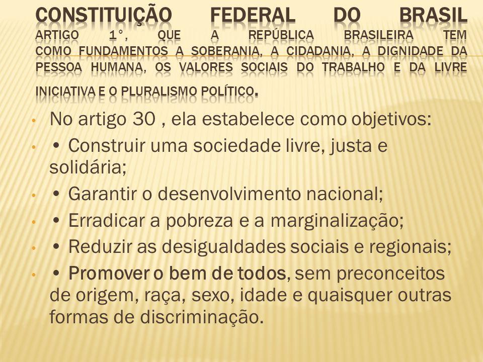 Constituição Federal do Brasil artigo 1°, que a República Brasileira tem como fundamentos a soberania, a cidadania, a dignidade da pessoa humana, os valores sociais do trabalho e da livre iniciativa e o pluralismo político.