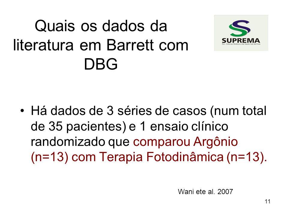 Quais os dados da literatura em Barrett com DBG