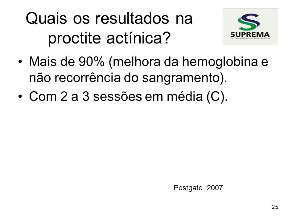 Quais os resultados na proctite actínica