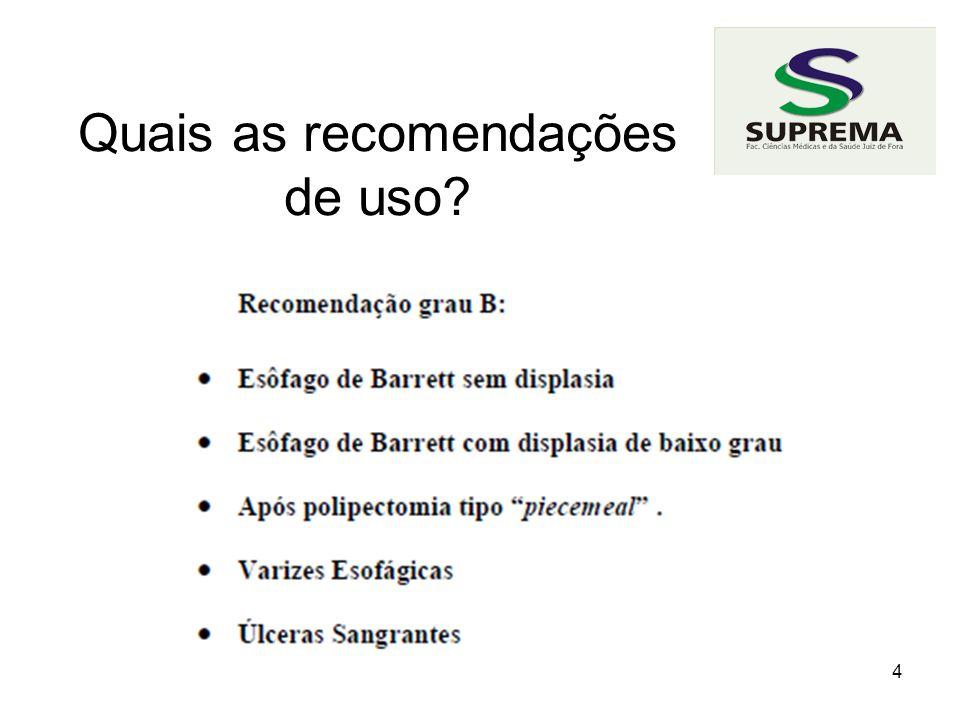 Quais as recomendações de uso