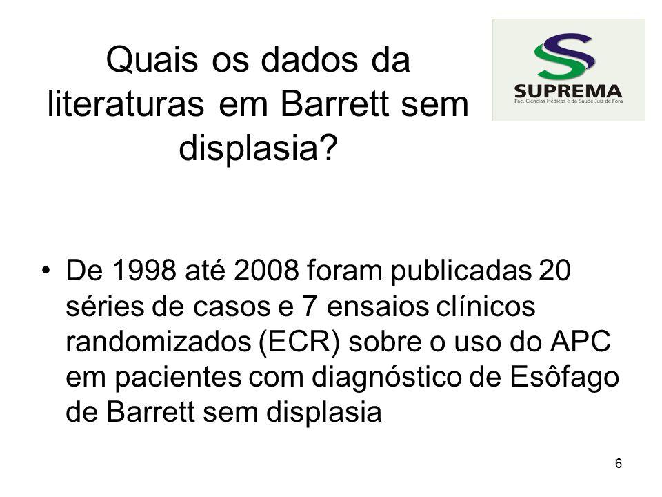 Quais os dados da literaturas em Barrett sem displasia