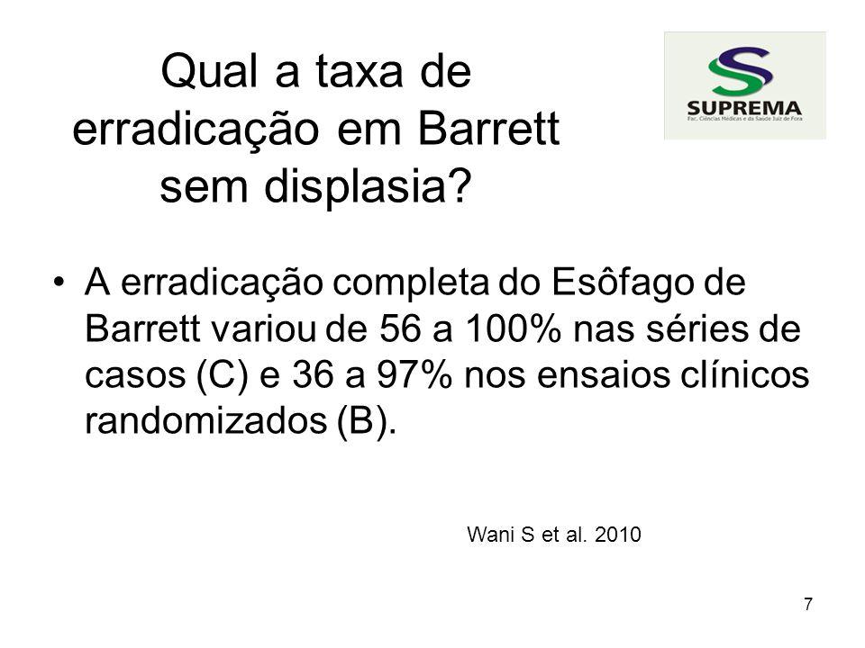 Qual a taxa de erradicação em Barrett sem displasia