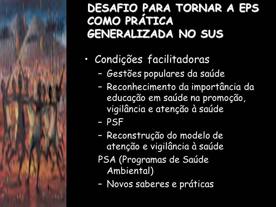 DESAFIO PARA TORNAR A EPS COMO PRÁTICA GENERALIZADA NO SUS