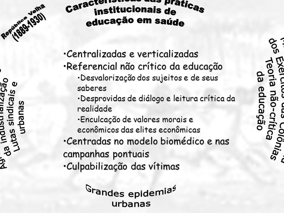 Centralizadas e verticalizadas Referencial não crítico da educação
