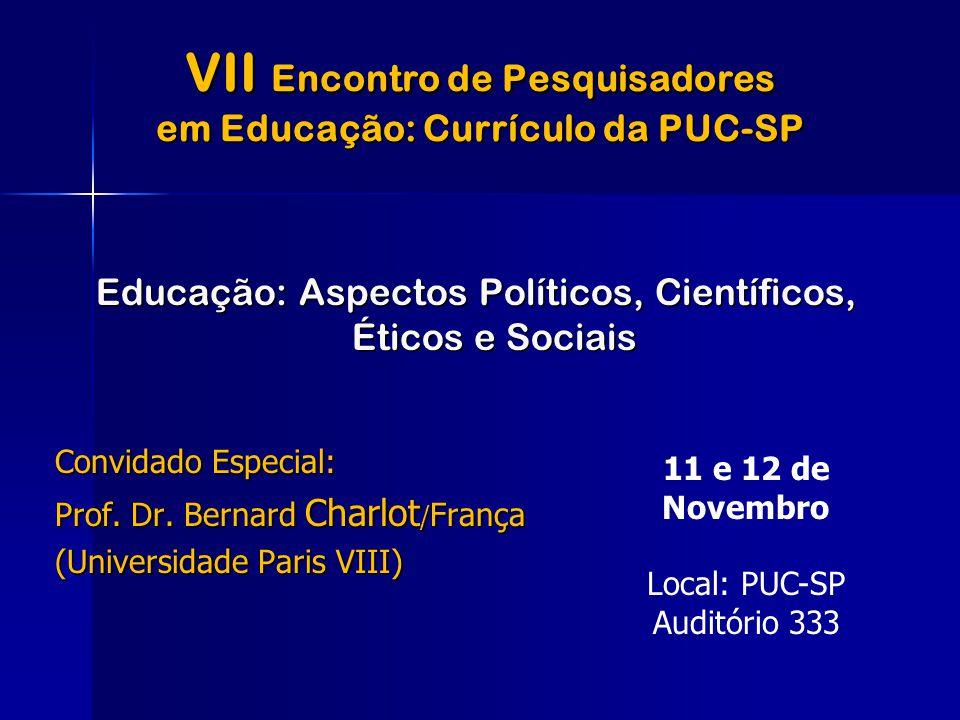 VII Encontro de Pesquisadores em Educação: Currículo da PUC-SP