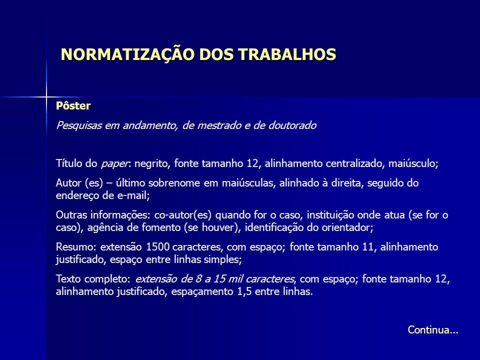 NORMATIZAÇÃO DOS TRABALHOS