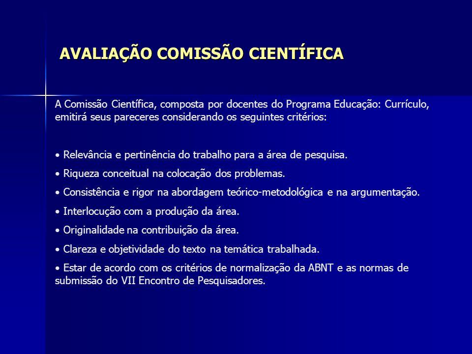 AVALIAÇÃO COMISSÃO CIENTÍFICA
