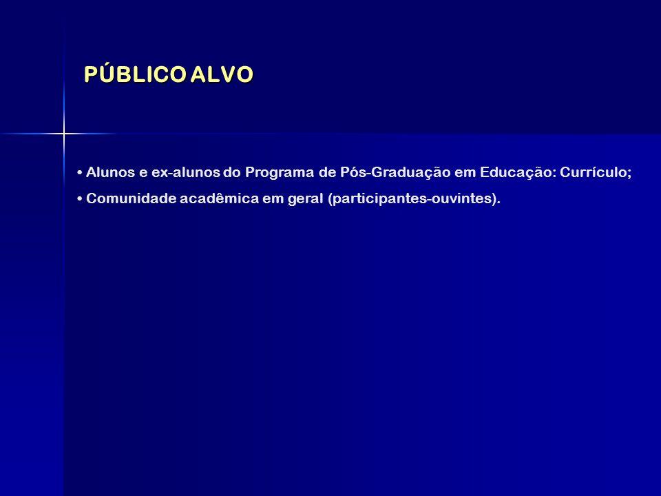 PÚBLICO ALVO Alunos e ex-alunos do Programa de Pós-Graduação em Educação: Currículo; Comunidade acadêmica em geral (participantes-ouvintes).