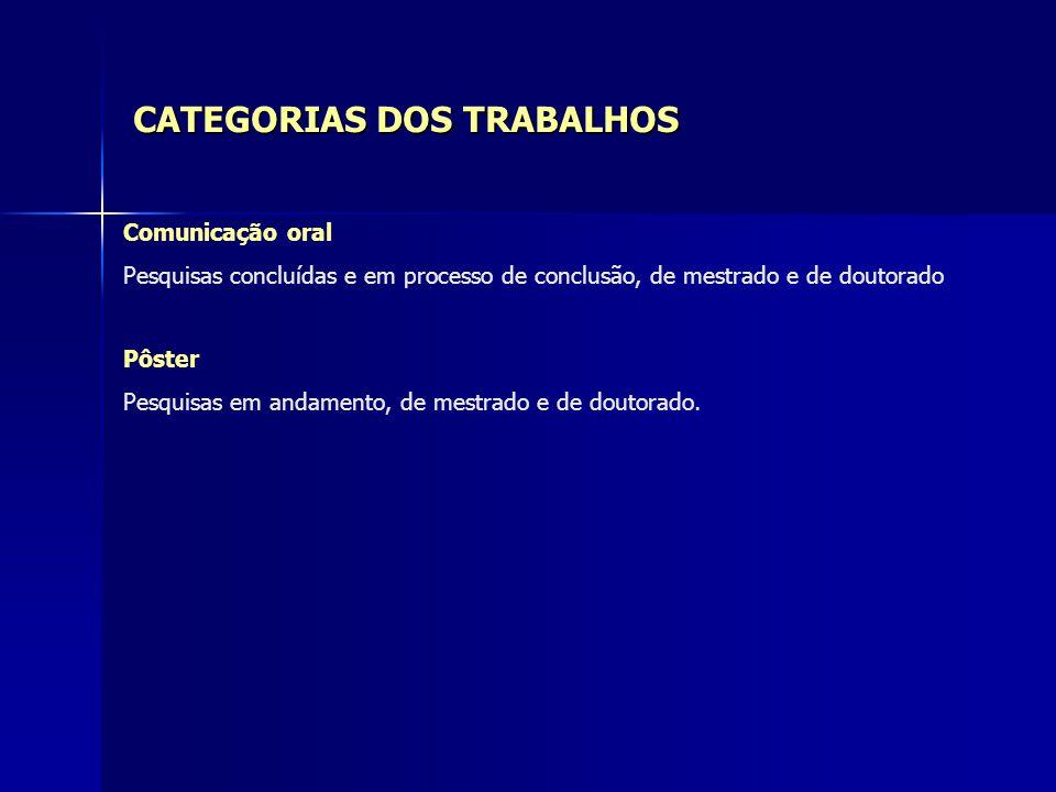CATEGORIAS DOS TRABALHOS