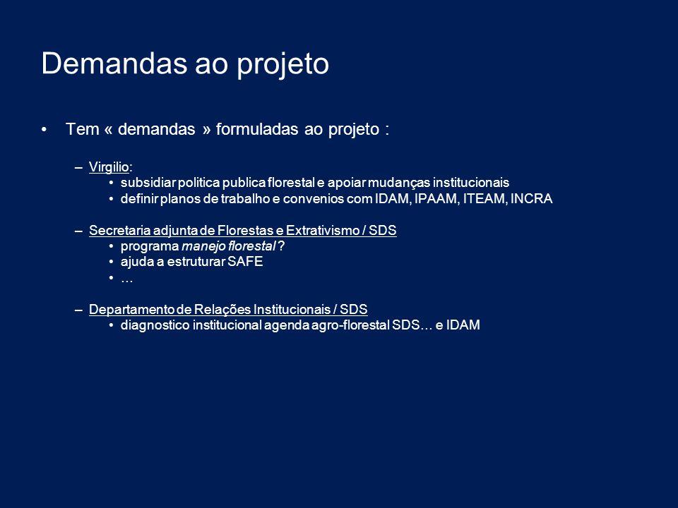 Demandas ao projeto Tem « demandas » formuladas ao projeto : Virgilio: