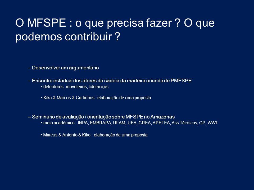 O MFSPE : o que precisa fazer O que podemos contribuir